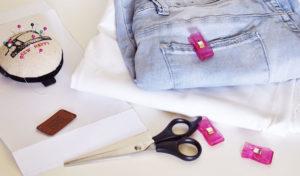 Material, um die Reisepasshülle aus Jeans zu nähen
