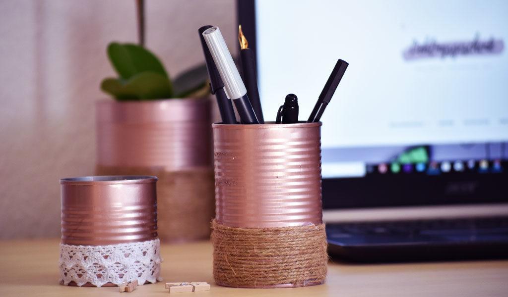 So sieht das Ergebnis des DIY Projektesaus: Stiftehalter, Behälter & Blumentopf aus recycelten Konservendosen