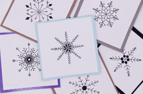 Weihnachtliche Karten mit Schneeflocken Motiv