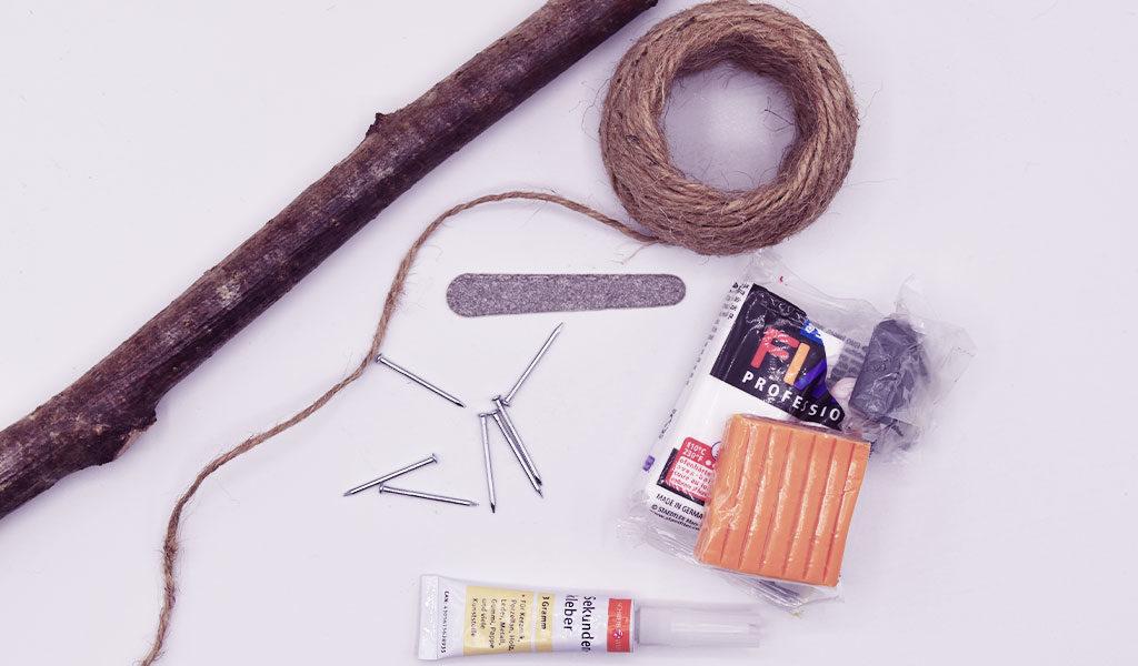 Materialien für den DIY Schlüsselhalter