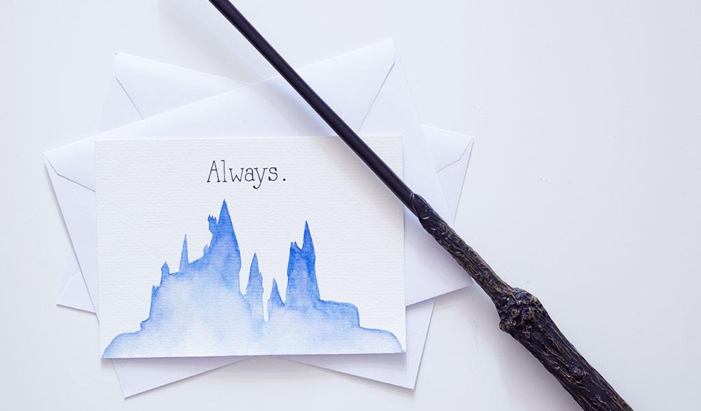 """Harry Potter Karte mit der Silhouette von Hogwarts und der Aufschrift """"Always"""""""