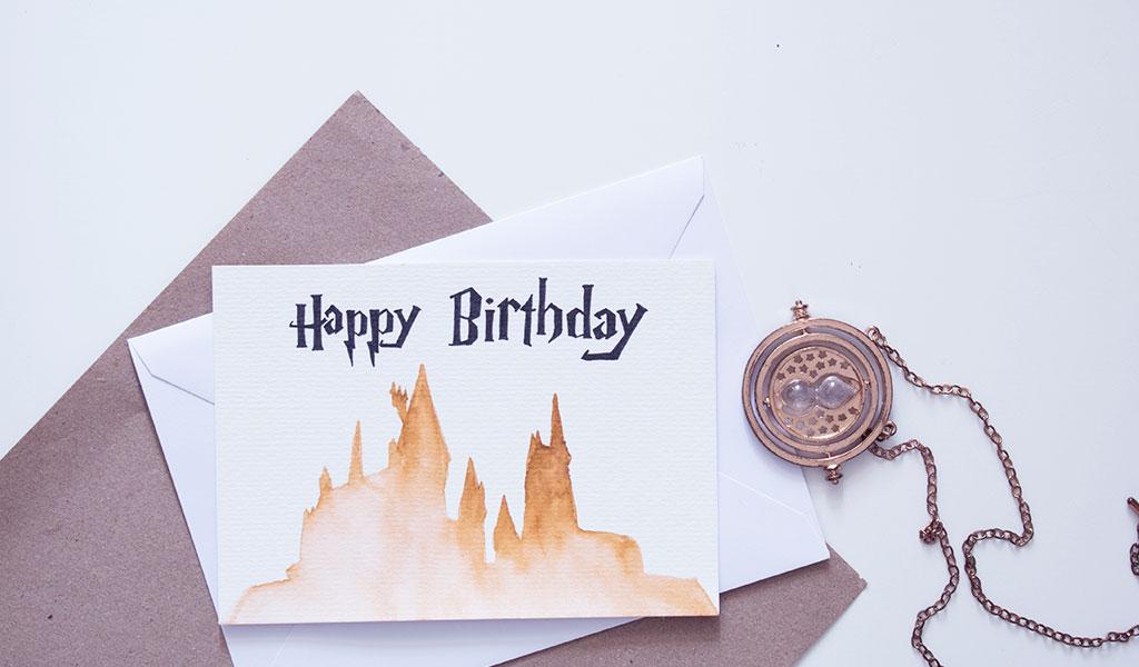 Harry Potter Karte mit der Hogwarts Silhouette zum Geburtstag
