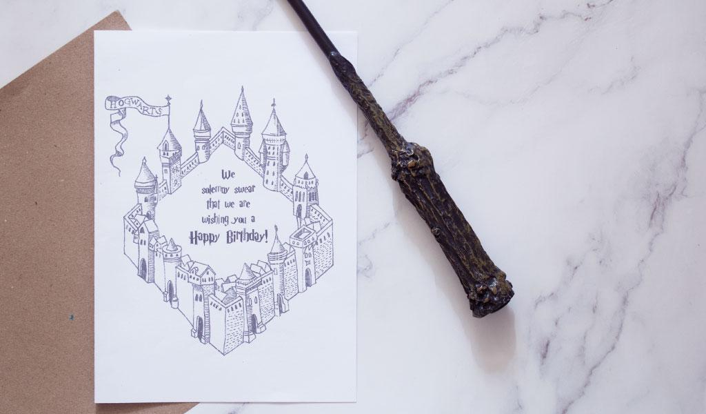 Harry Potter Karte mit einer Hogwarts Zeichnung
