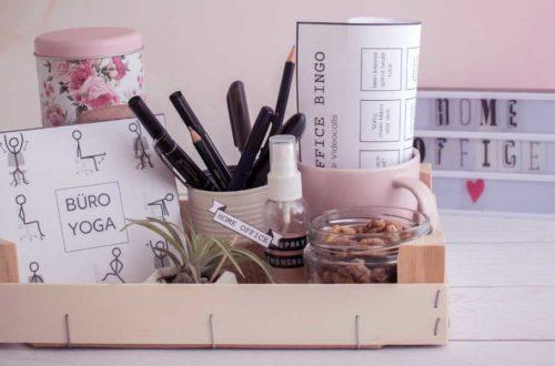 Geschenkkorb fürs Homeoffice mit Büro Yoga, Bingo, Kaffee, Stiftehalter, Snacks, Blumentopf