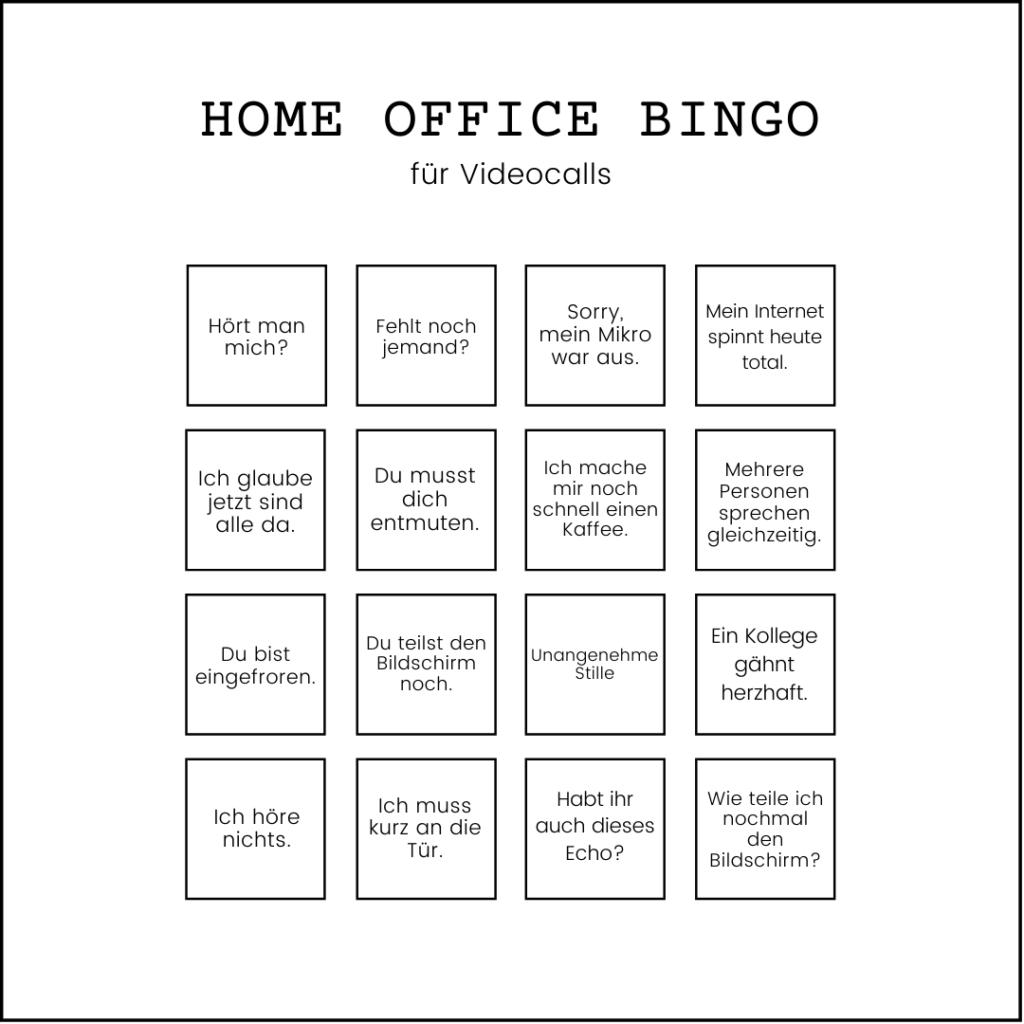 Bingo für Videocalls im Homeoffice