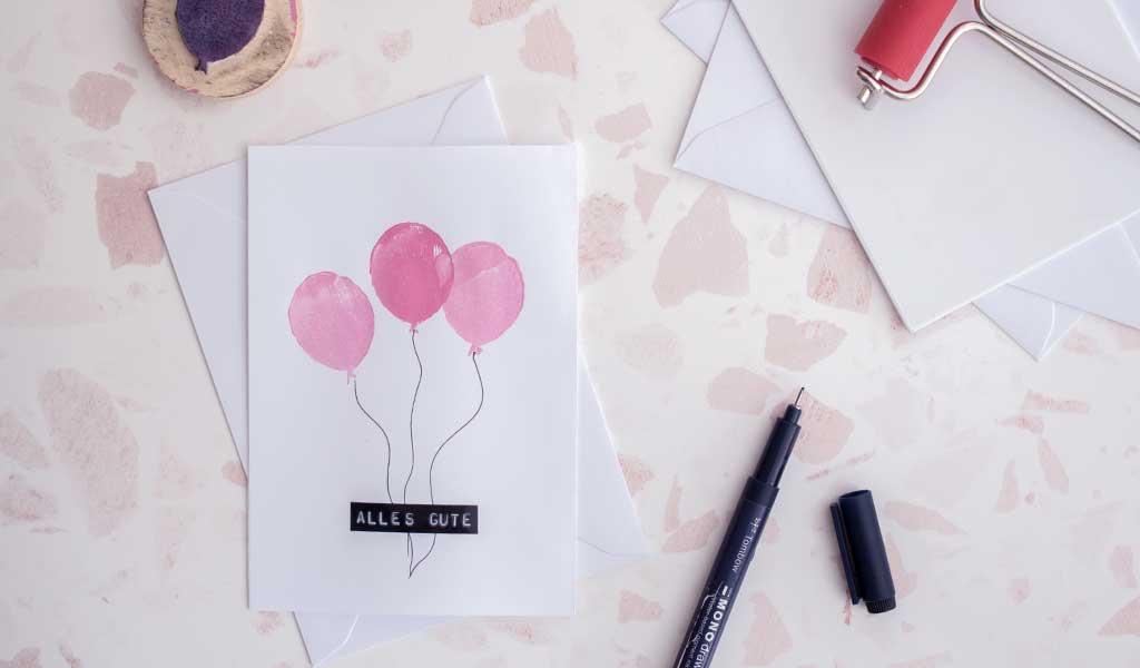 Stempel selber machen - Karte mit Luftballons bestempelt