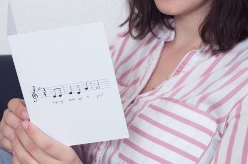 Geburtstagskarte auf der das Lied Happy Birthday in Noten dargestellt ist