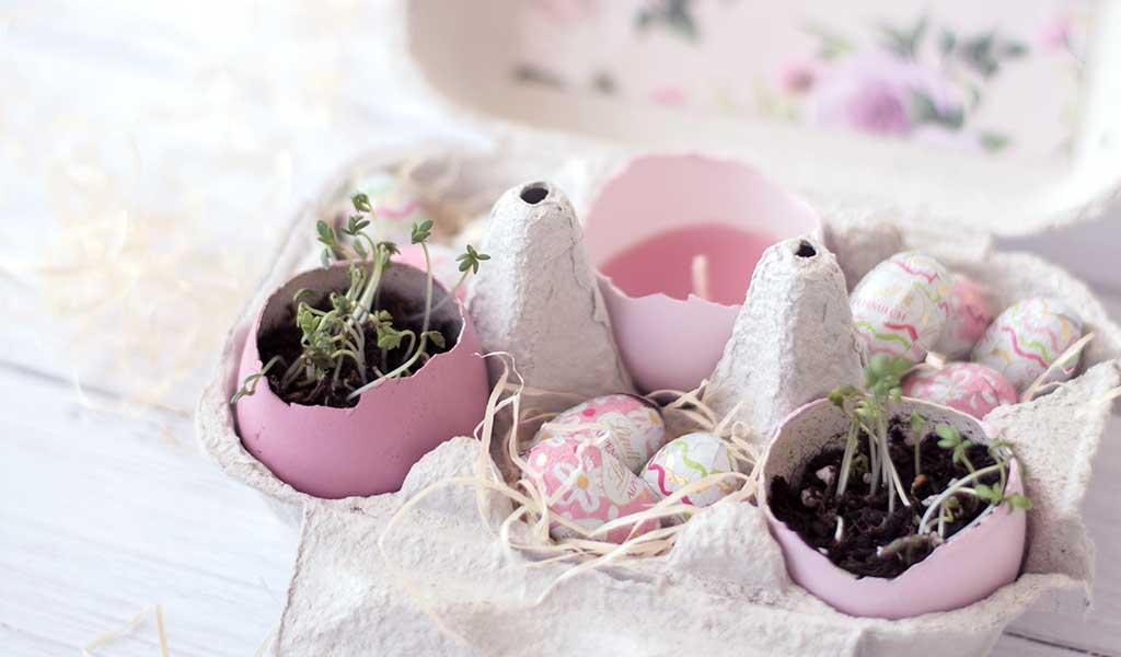 Selbstgemachtes Osternest aus Eierkarton