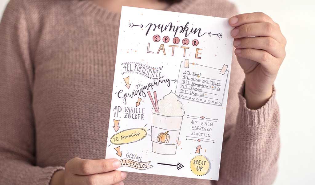 Lettering des  Rezepts für einen Pumpkin Spice Latte