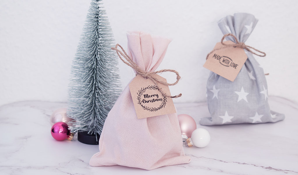 Mit selbstgenähten Stoffbeuteln Geschenke kreativ und nachhaltig verpacken