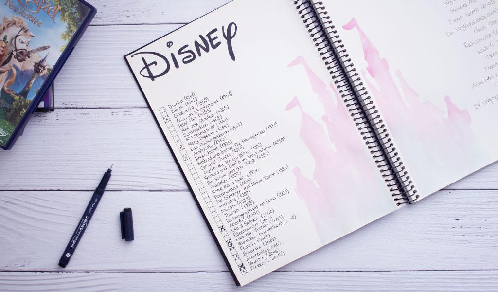 Liste mit Disneyfilmen als DIY Film-Challenge