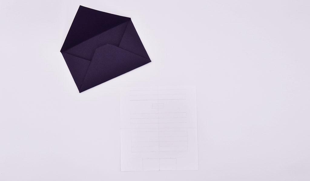 Umschlag und vorgezeichneter Brief