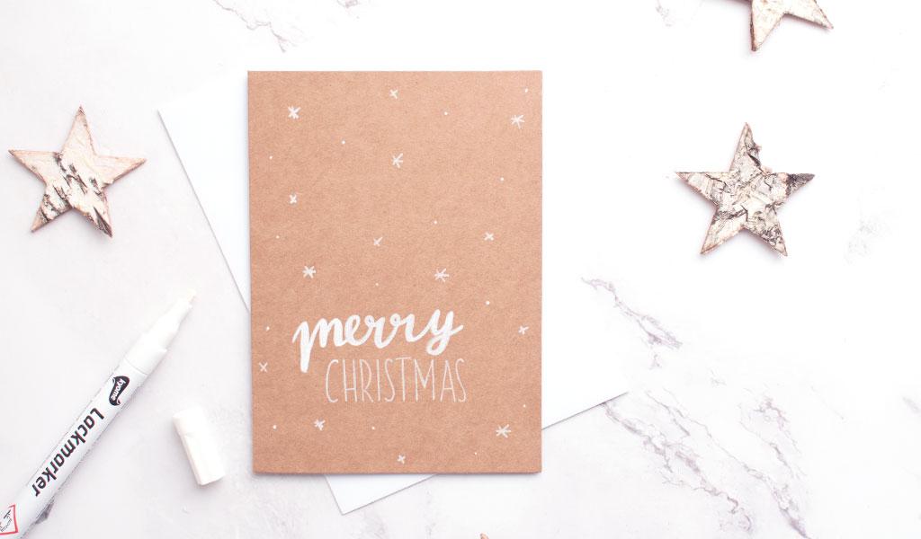 """DIY Weihnachtskarte """"Merry Christmas"""" mit Schneeflocken"""