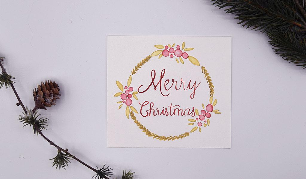 Weihnachtlicher Kranz für eine DIY Weihnachtskarte