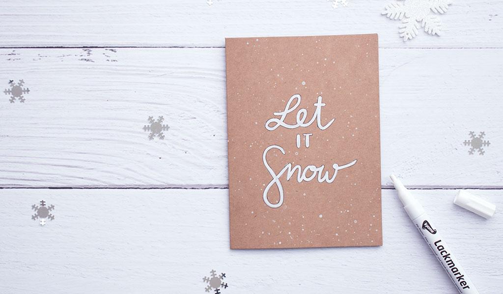 """DIY Weihnachtskarte mit dem Spruch """"Let it Snow"""""""
