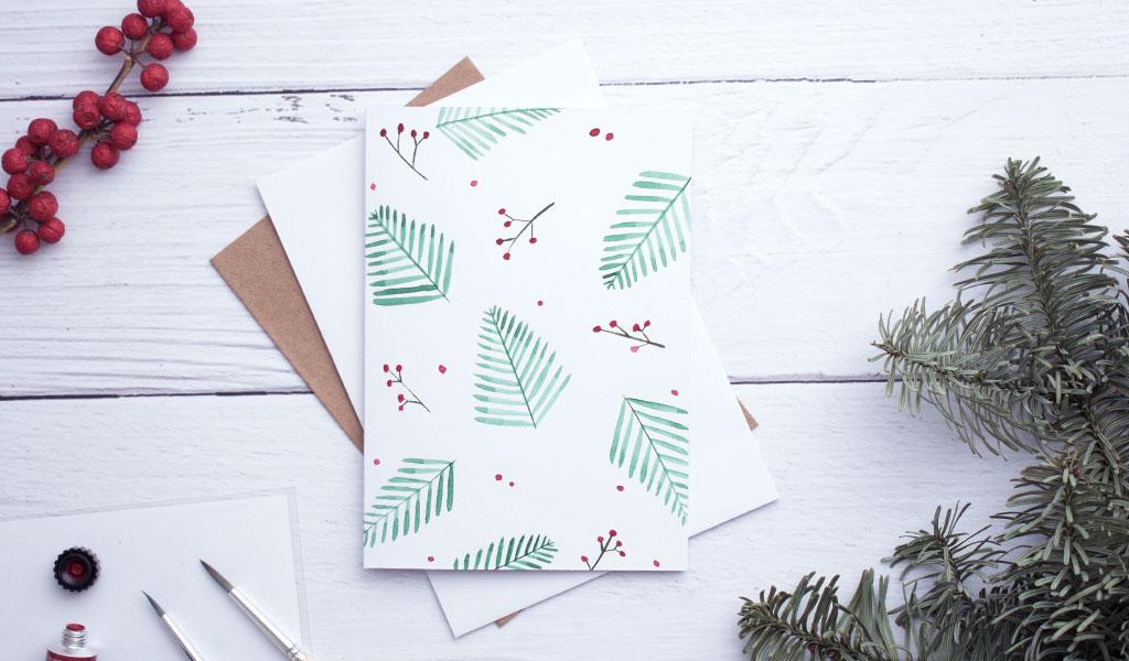 Weihnachtskarte mit weihnachtlichem Motiv ohne Text