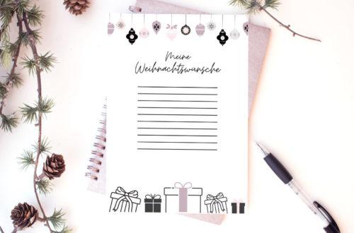 Wunschliste Vorlage für Weihnachten
