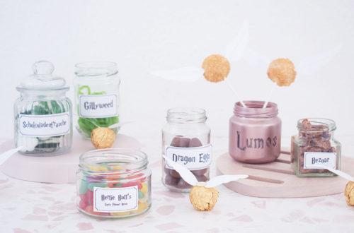 Harry Potter Candy Bar mit typischen Harry Potter Süßigkeiten