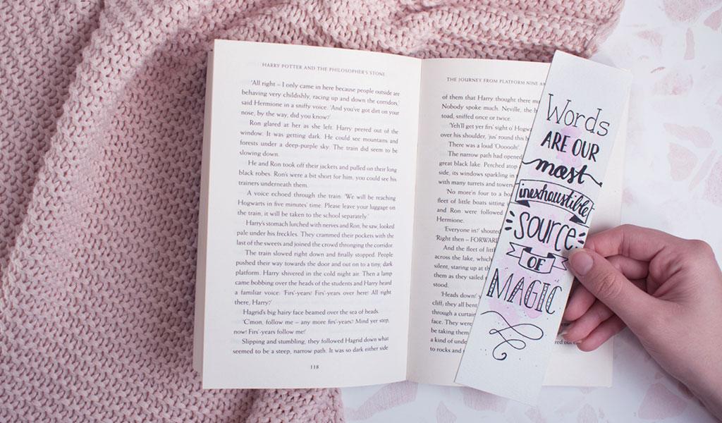 Lesezeichen im Harry Potter design mit einem Zitat von Dumbledore
