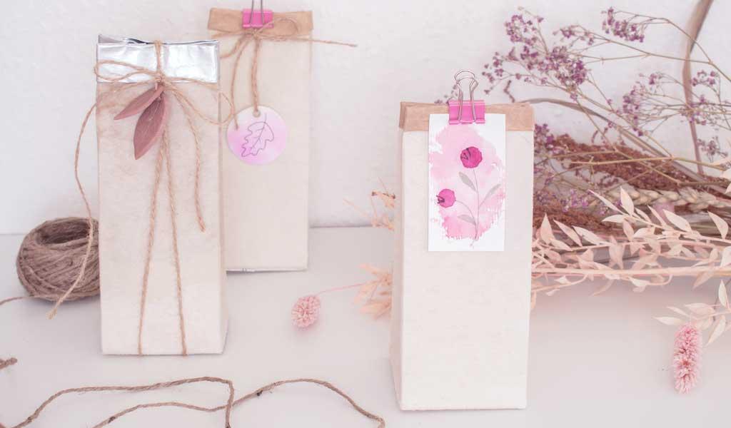herbstliche Geschenkverpackungen aus alten Milchtüten basteln